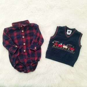 Baby christmas button down onesie and vest. GUC!